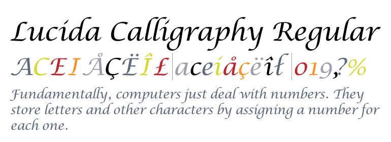 Font Lucida Callygraphy